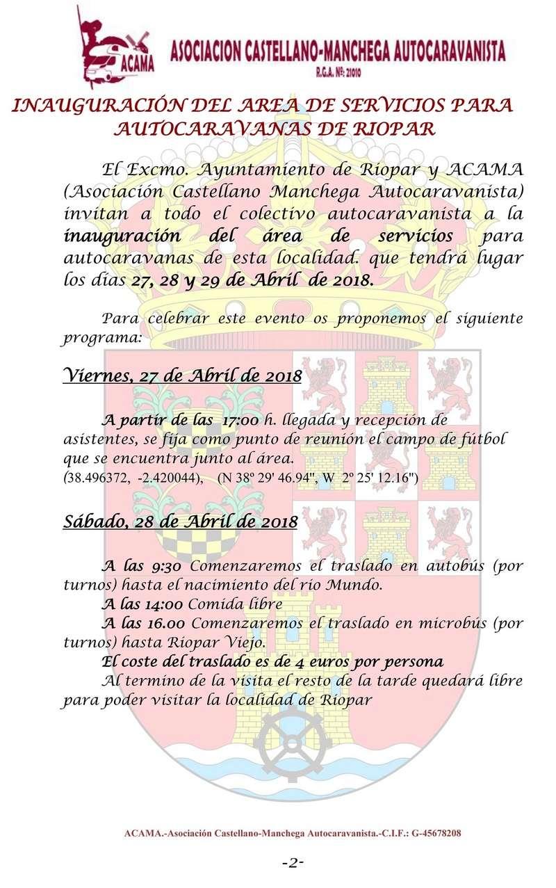 27,28 y 29 de Abril INAUGURACION AREA DE AUTOCARAVANAS DE RIOPAR Riopar15