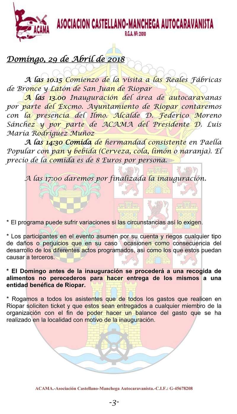 27,28 y 29 de Abril INAUGURACION AREA DE AUTOCARAVANAS DE RIOPAR Riopar16