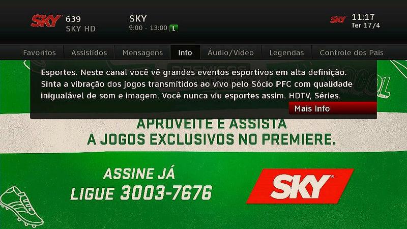 SKY adiciona Premiere 7 HD e Mosaico SporTV 30707210