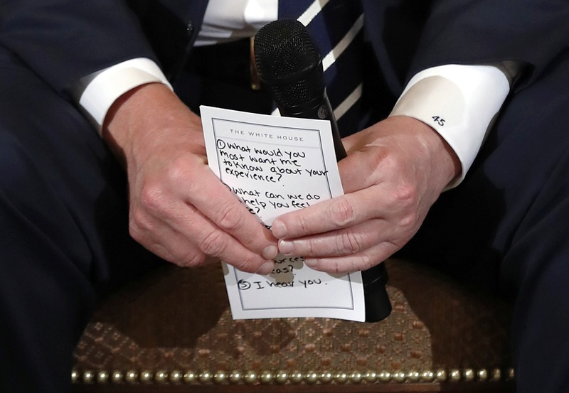 Trump needed a cheat sheet to console school shooting survivors, and you can read it  Img_2010