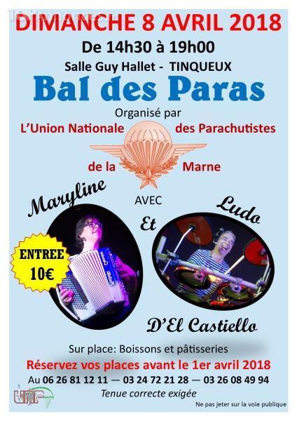 L'Union Nationale des Parachutistes de la Marne, amitié et la solidarité entre les anciens parachutistes militaires organise son 2ème après-midi dansant.  Dimanche 08 avril 2018 à partir de 14h30 Bal_un10