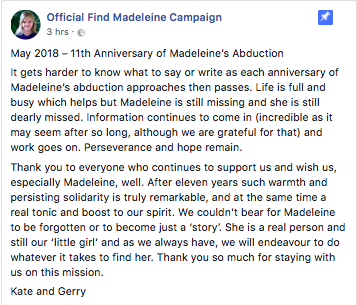 Message from Kate & Gerry McCann on the 11th Anniversary of Madeleine's Abduction Screen13