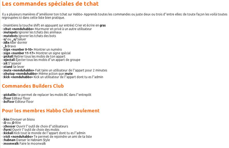 Liste des commandes :special 20575210
