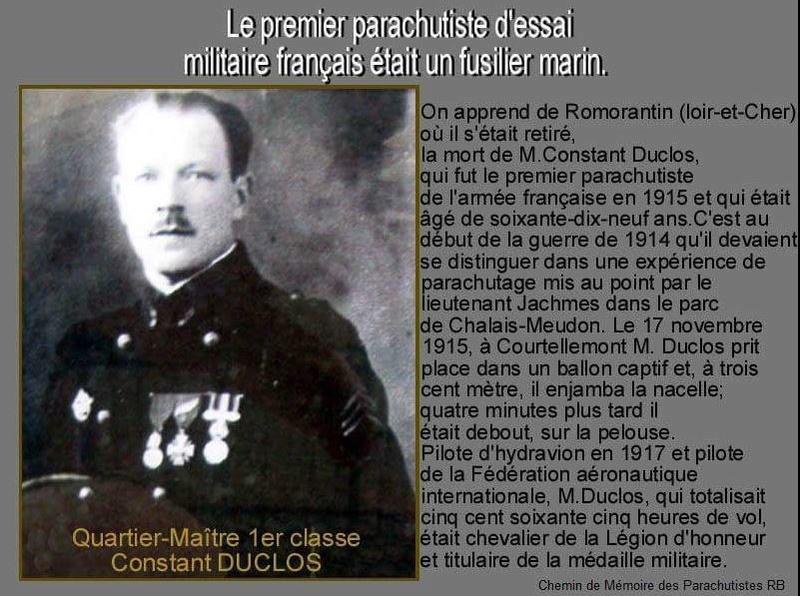 Le 17 novembre 1915: le premier parachutiste d'essai militaire français était un fusilier marin Para10