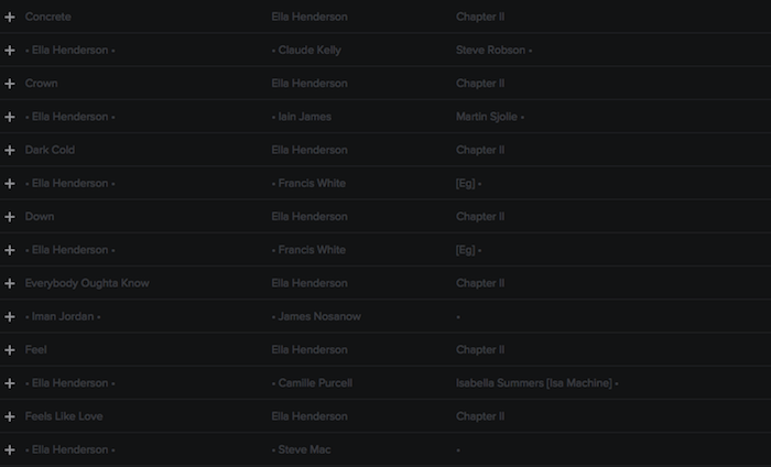 Registry: @EllaHenderson • 'Chapter II' • Epic/Syco [90+ songs] Screen39