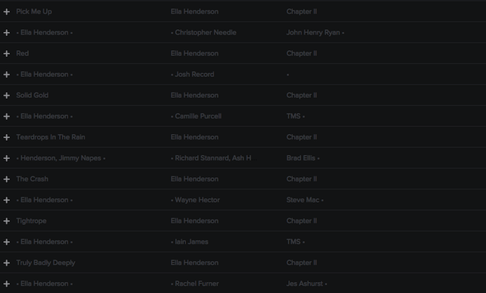 Registry: @EllaHenderson • 'Chapter II' • Epic/Syco [90+ songs] Screen40