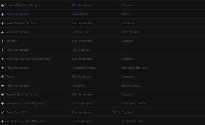 Registry: @EllaHenderson • 'Chapter II' • Epic/Syco [90+ songs] Screen41