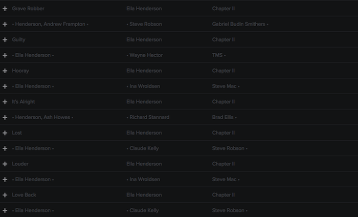 Registry: @EllaHenderson • 'Chapter II' • Epic/Syco [90+ songs] Screen42