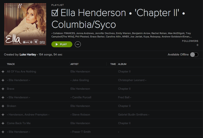 Registry: @EllaHenderson • 'Chapter II' • Epic/Syco [90+ songs] Screen43