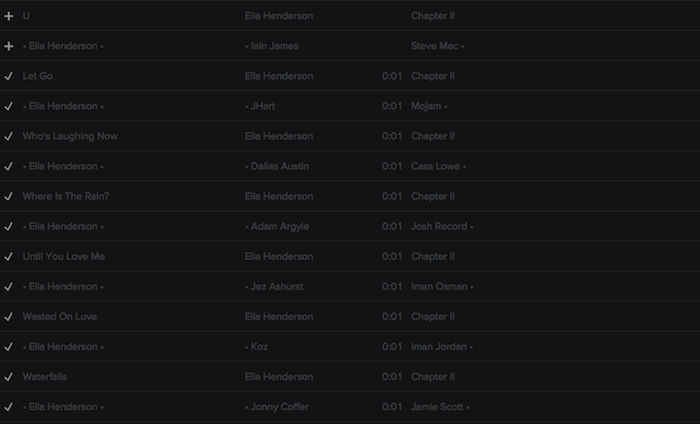 Registry: @EllaHenderson • 'Chapter II' • Epic/Syco [90+ songs] Screen44