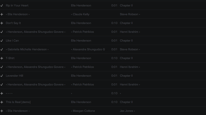 Registry: @EllaHenderson • 'Chapter II' • Epic/Syco [90+ songs] Screen47
