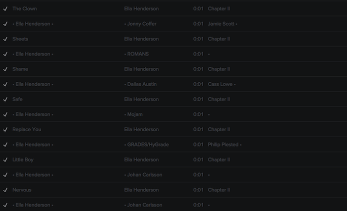 Registry: @EllaHenderson • 'Chapter II' • Epic/Syco [90+ songs] Screen48