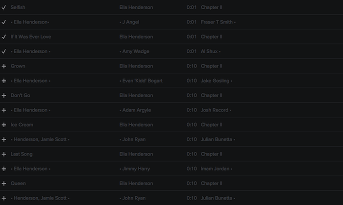 Registry: @EllaHenderson • 'Chapter II' • Epic/Syco [90+ songs] Screen49