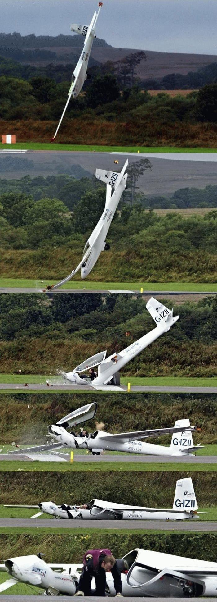 Le crash d'un planeur. Caramb10
