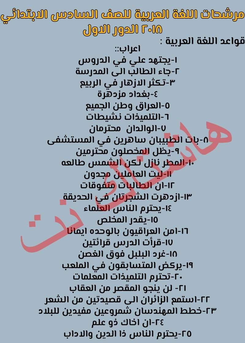 اهم الجمل المرشحة في امتحان اللغة العربية السادس الابتدائي 2018 الدور الاول 120