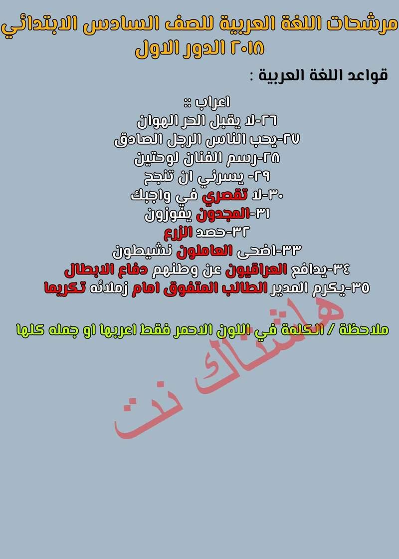 اهم الجمل المرشحة في امتحان اللغة العربية السادس الابتدائي 2018 الدور الاول 220