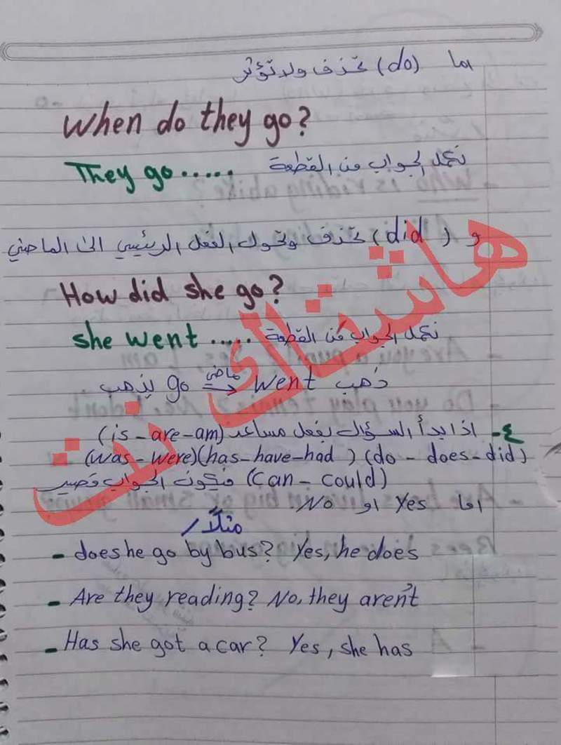 ملاحظات مهمه جدا في امتحان مادة اللغة الانكليزية للصف السادس الابتدائي 2018 221