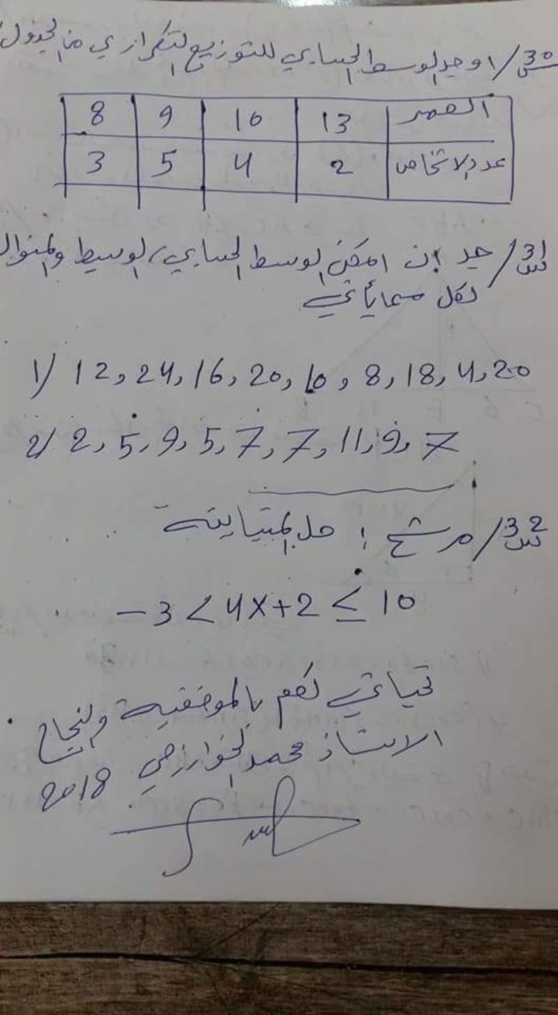 اسئله مرشحه ومركزه لمادة الرياضيات للصف الثالث المتوسط سنة 2018 421