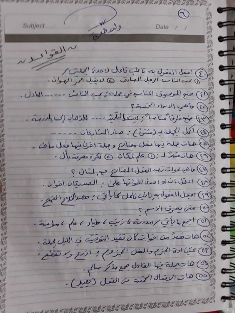 مرشحات مادة اللغة العربية للصف السادس الابتدائي القواعد والمحفوظات 2019 613