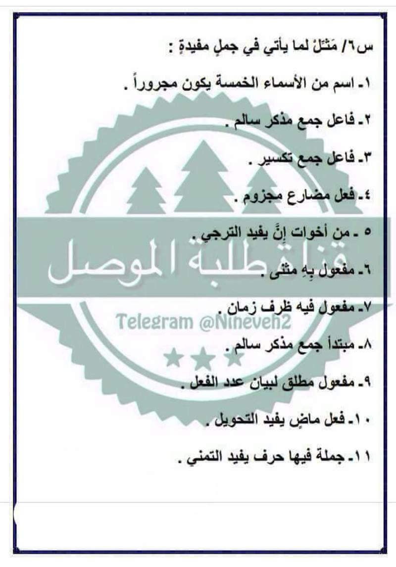 مرشحات ومراجعة المركزة لمادة اللغة العربية لصف السادس الابتدائي لامتحان يوم السبت 614