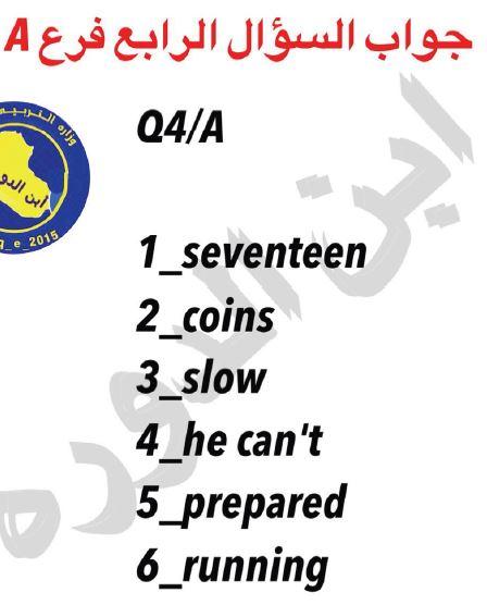 اسئلة اللغة الانكليزية الصف السادس الابتدائي 2018 الدور الاول  616