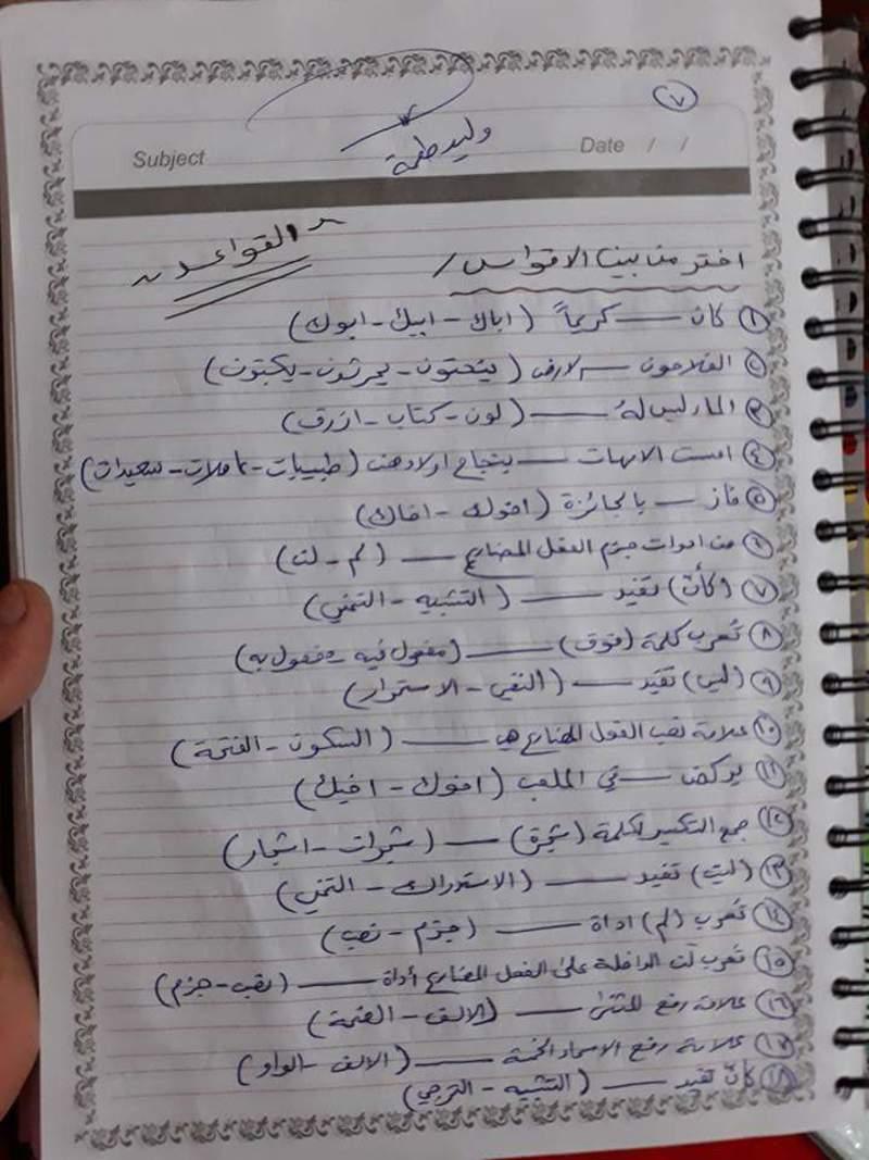 مرشحات مادة اللغة العربية للصف السادس الابتدائي القواعد والمحفوظات 2019 711