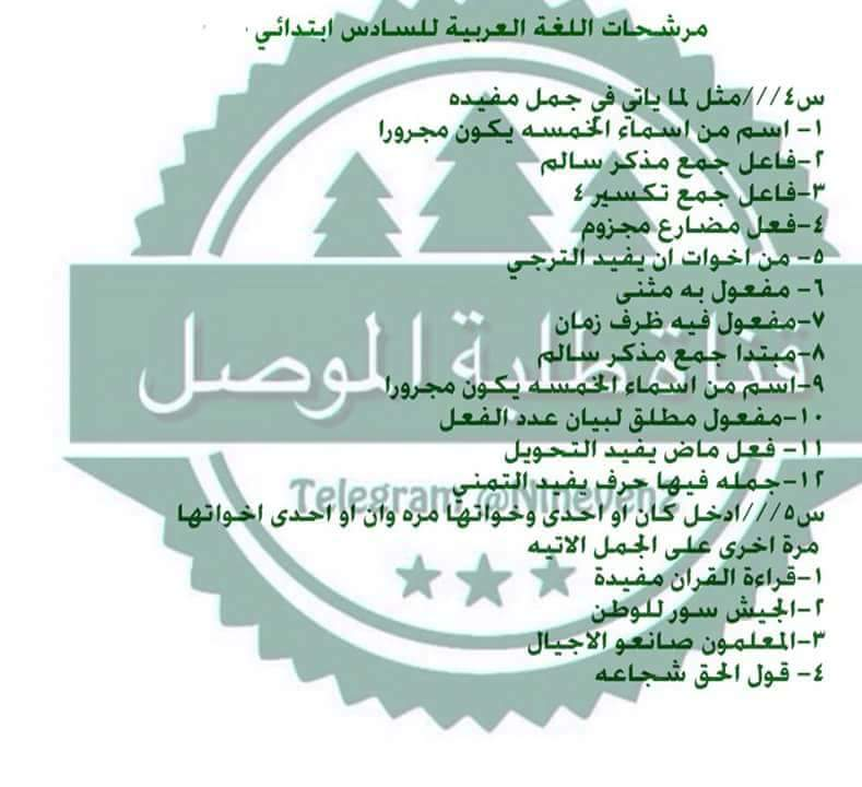 مرشحات ومراجعة المركزة لمادة اللغة العربية لصف السادس الابتدائي لامتحان يوم السبت 712