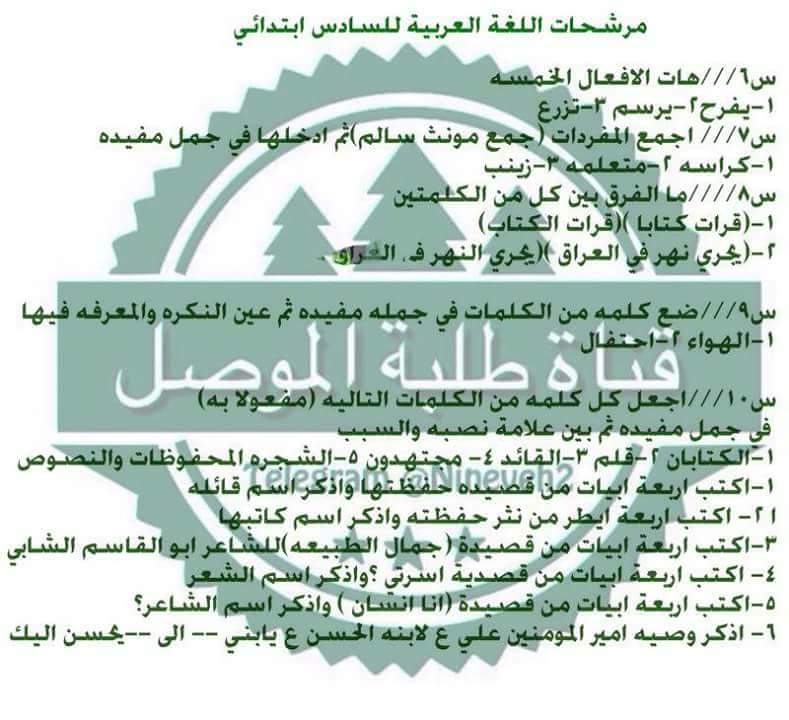 مرشحات ومراجعة المركزة لمادة اللغة العربية لصف السادس الابتدائي لامتحان يوم السبت 812