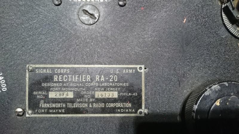 GROSSE RADIO US ARMY SIGNAL CORPS RECTIFIER RA 20 Dsc_8919