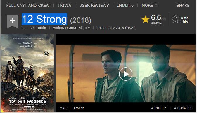 حصريا فيلم الاكشن والدراما والعموض المنتظر 12 Strong (2018) 720p BluRay  مترجم بنسخة البلوري 2018-029