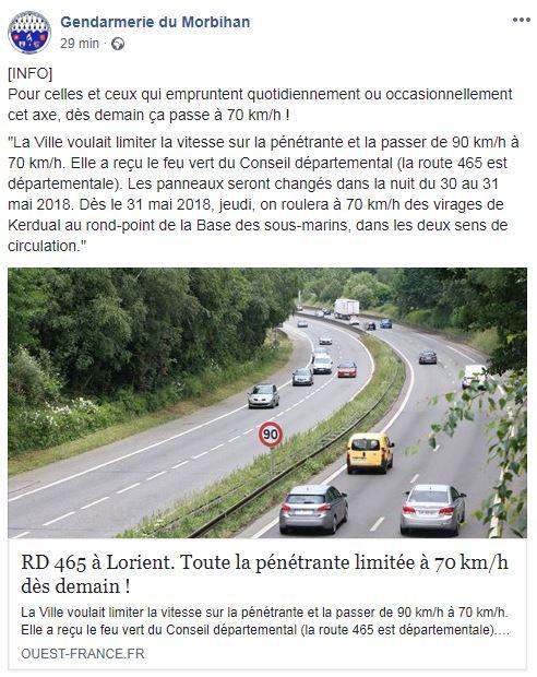 80km/h sur les routes c'est signé. Morbih10