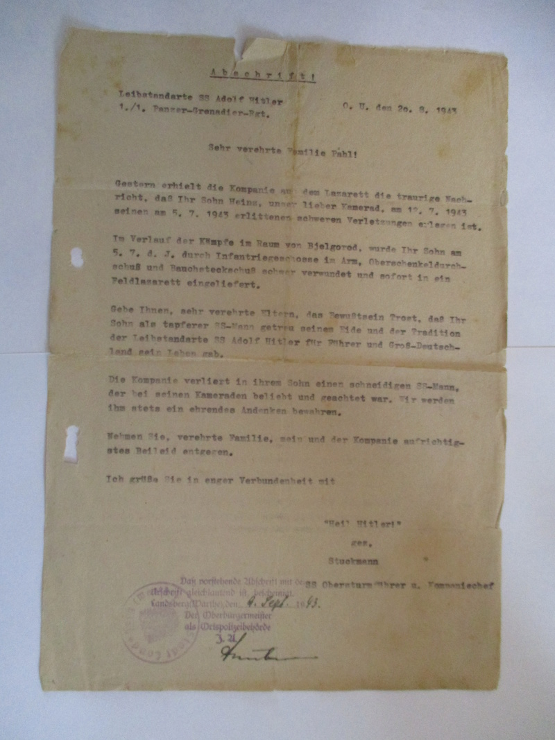 documents SS dont un de la Leibstandarte Adolf Hitler  Img_8376
