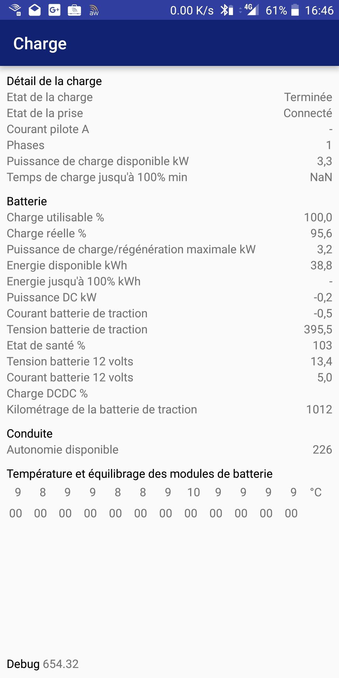 Consommation réelle en kWh pour recharge ZOE Screen10