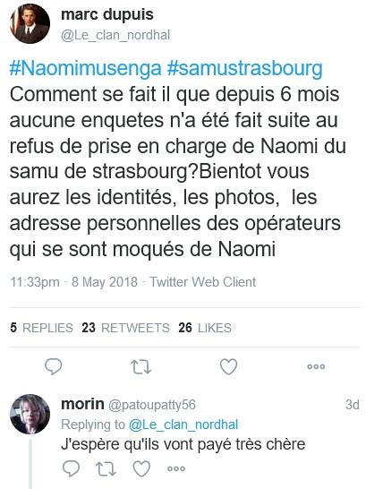 """Naomi -  """"@Le_clan_nordhal est toujours actif -5 jours que TwitterFrance complice du lynchage Naomi_10"""