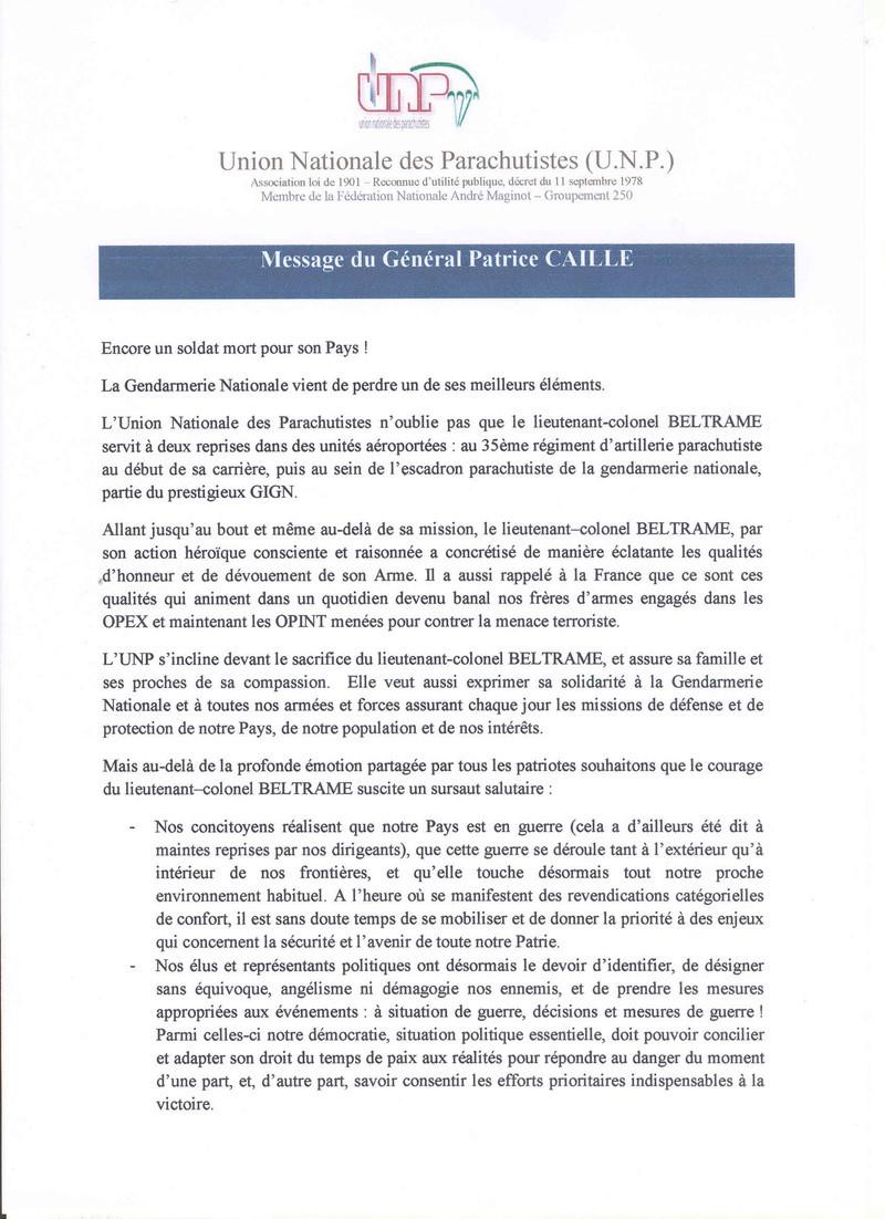 Message du général Patrice CAILLE président de l'UNP Lettre10