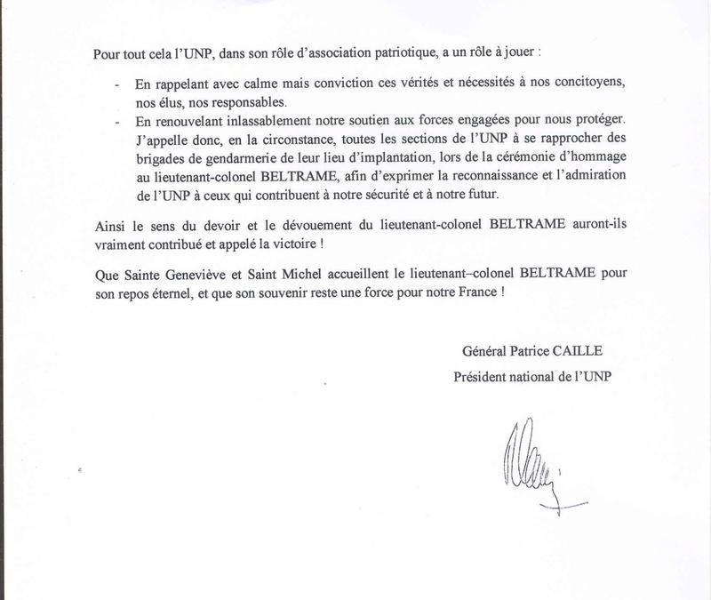 Message du général Patrice CAILLE président de l'UNP Lettre11