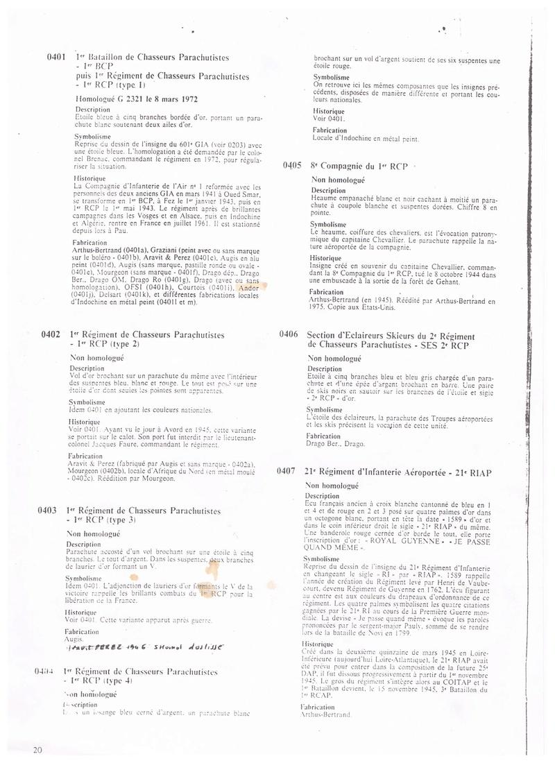 estimation de 6 insignes 1RCP divers fabricant 001_211