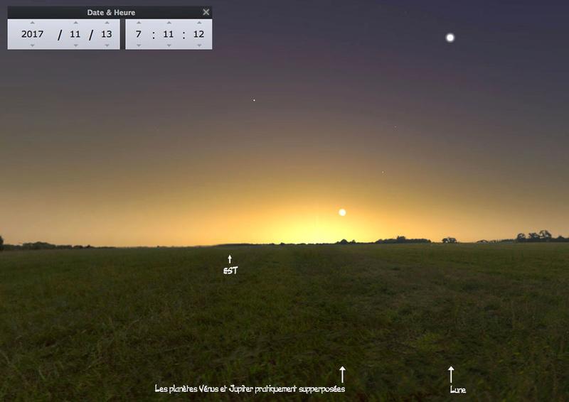 Jupiter visite Vénus 12, 13 et 14 novembre Vj-210