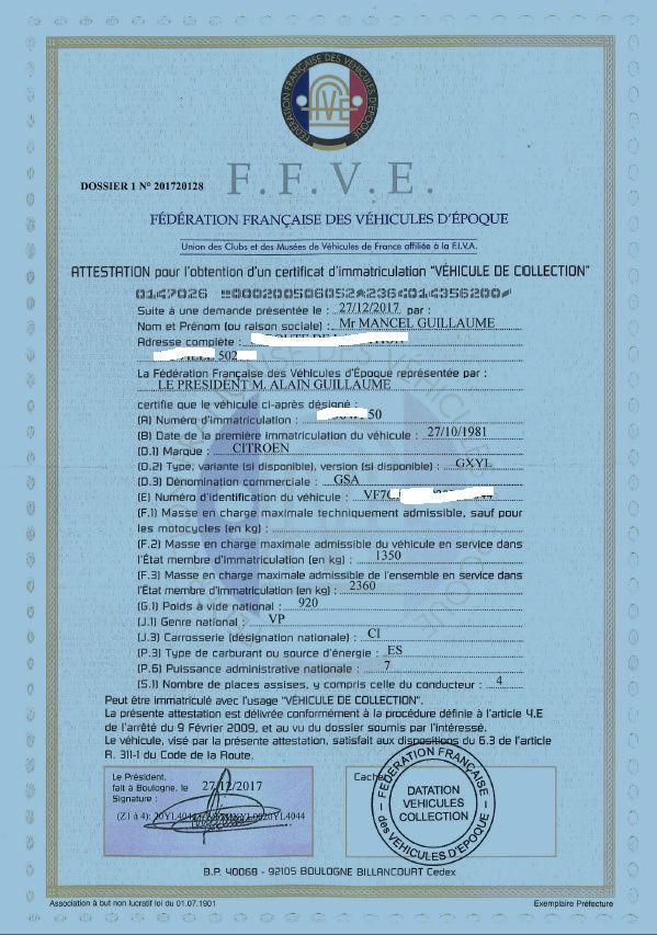 [Carte grise collection] Documents et démarches Attest10