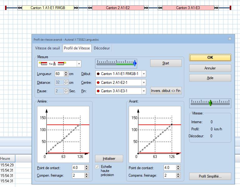 Profil avancé de vitesse: cases distance et pause grisées Profil13
