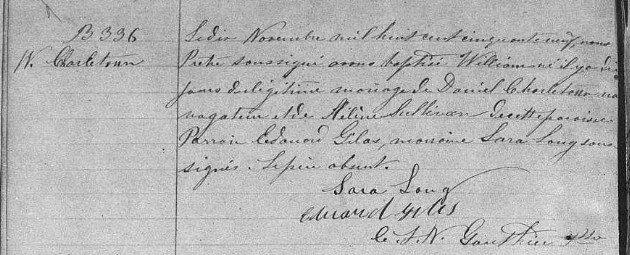 Mariage de William Damase Carleton Martin et Clara Guillot(te) Bwilli10