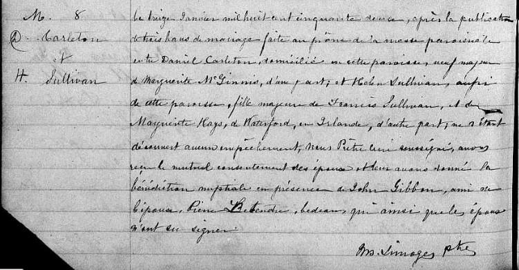 Mariage de William Damase Carleton Martin et Clara Guillot(te) Mdanie10