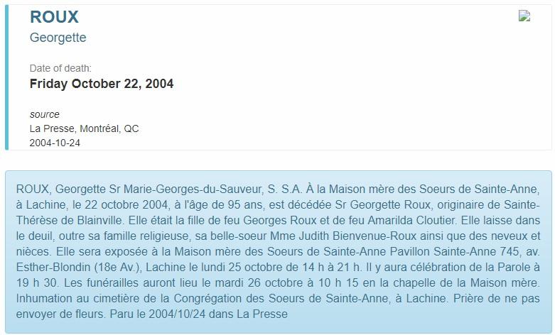 Décès de Georgette Roux Sgroux10