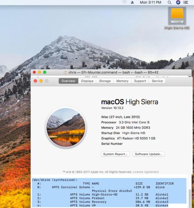 macOS High Sierra HD APFS et HFS+J  118