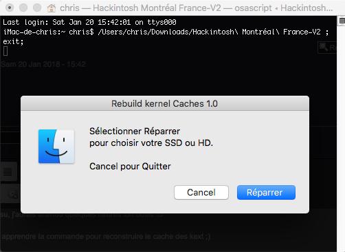 Command Rebuild kernel Caches Hackintosh Montréal France 139
