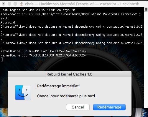 Command Rebuild kernel Caches Hackintosh Montréal France 413