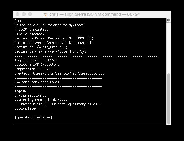 Script pour créer un iso macOS High Sierra 10.13  pour VMware Captu110