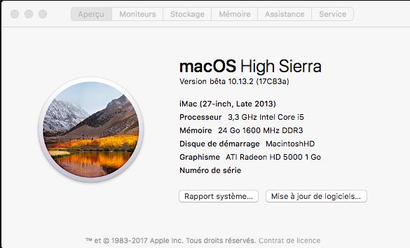 Beta macOS High Sierra Beta 10.13 1 (17B46a) a 10.13.2 Beta et +++ Captu120