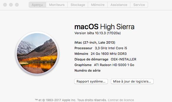 Beta macOS High Sierra Beta 10.13 1 (17B46a) a 10.13.2 Beta et +++ Captu152