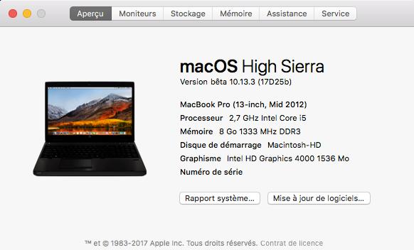 Beta macOS High Sierra Beta 10.13 1 (17B46a) a 10.13.2 Beta et +++ Captu166